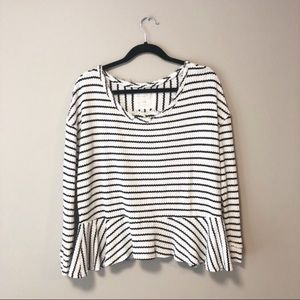 Free People Striped Auntie Em Peplum Thermal Top
